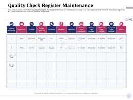 Quality Check Register Maintenance Water Pump Ppt Powerpoint Presentation Visual Aids Inspiration