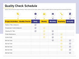 Quality Check Schedule Ac Filter Ppt Powerpoint Presentation Summary Background