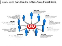 Quality Circle Team Standing In Circle Around Target Board