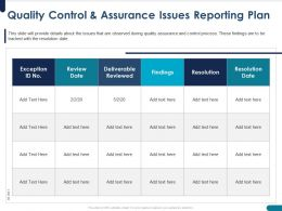 Quality Control And Assurance Issues Reporting Plan Review Ppt Powerpoint Presentation Maker