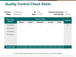 Quality Control Check Sheet Ppt Pictures Format