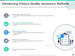 Quality Control Engineering Introducing Various Quality Assurance Methods Ppt Layouts Brochure