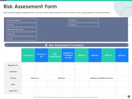 Quality Control Engineering Risk Assessment Form Ppt Powerpoint Presentation Model