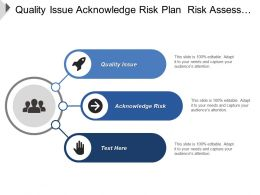 Quality Issue Acknowledge Risk Plan Risk Assess Analyze