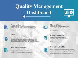 Quality Management Dashboard Ppt Styles Gridlines
