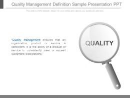 Quality Management Definition Sample Presentation Ppt