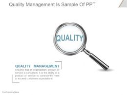 Quality Management Is Sample Of Ppt
