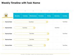 Quality Management Journey Food Processing Firm Weekly Timeline With Task Name Ppt Model