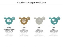 Quality Management Lean Ppt Powerpoint Presentation Inspiration Infographic Template Cpb