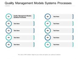 Quality Management Models Systems Processes Ppt Powerpoint Graphics Cpb