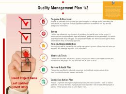 Quality Management Plan Corrective Action Plan Ppt Powerpoint Icon