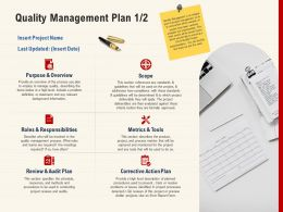 Quality Management Plan Corrective Action Plan Ppt Powerpoint Pictures