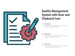 Quality Management System With Gear And Clipboard Icon