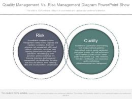 Quality Management Vs Risk Management Diagram Powerpoint Show