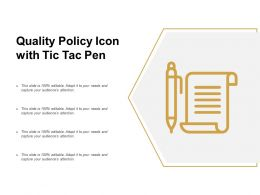 Quality Policy Icon With Tic Tac Pen