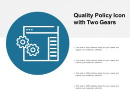 Quality Policy Icon With Two Gears