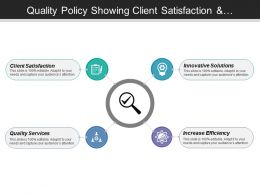 Quality Policy Showing Client Satisfaction And Innovation Solutions