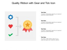 Quality Ribbon With Gear And Tick Icon