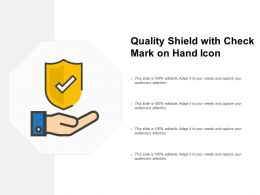 Quality Shield With Check Mark On Hand Icon