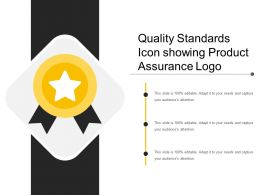 Quality Standards Icon Showing Product Assurance Logo