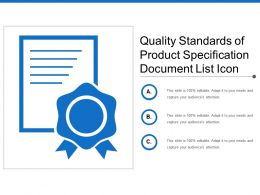 Quality Standards Of Product Specification Document List Icon
