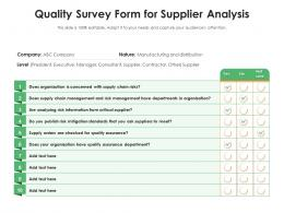 Quality Survey Form For Supplier Analysis