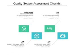 Quality System Assessment Checklist Ppt Powerpoint Presentation Styles Portfolio Cpb