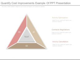 Quantify Cost Improvements Example Of Ppt Presentation