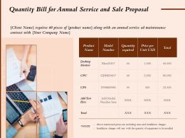 Quantity Bill For Annual Service And Sale Proposal Ppt Powerpoint Presentation Portfolio
