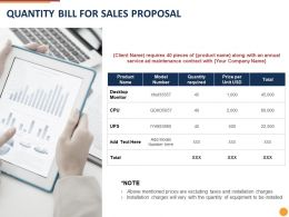 Quantity Bill For Sales Proposal Ppt Powerpoint Presentation Slides Microsoft