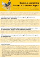Quantum Computing Research Statement Report Presentation Report Infographic PPT PDF Document