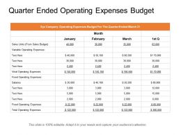 Quarter Ended Operating Expenses Budget