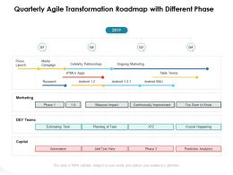 Quarterly Agile Transformation Roadmap With Different Phase