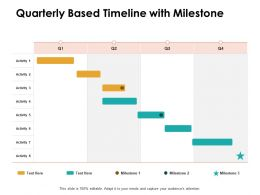 Quarterly Based Timeline With Milestone Ppt Powerpoint Presentation Influencers