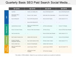 Quarterly Basis Seo Paid Search Social Media And Digital Marketing Swimlane
