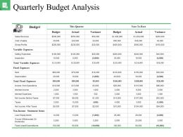 Quarterly Budget Analysis Good Ppt Example