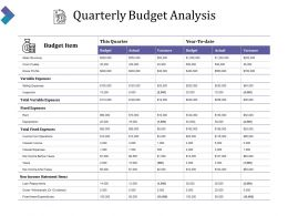 Quarterly Budget Analysis Ppt Background Images