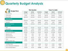 Quarterly Budget Analysis Ppt Infographics Icon