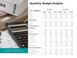 Quarterly Budget Analysis Ppt Powerpoint Presentation Infographics Grid