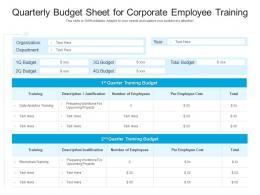 Quarterly Budget Sheet For Corporate Employee Training
