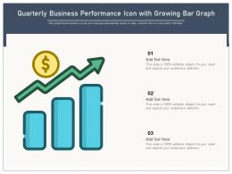 Quarterly Business Performance Icon With Growing Bar Graph