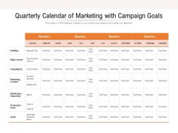 Quarterly Calendar Of Marketing With Campaign Goals