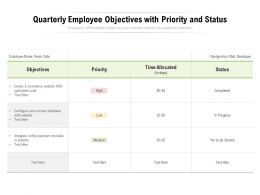 Quarterly Employee Objectives With Priority And Status