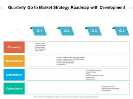 Quarterly Go To Market Strategy Roadmap With Development