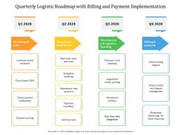 Quarterly Logistic Roadmap With Billing And Payment Implementation