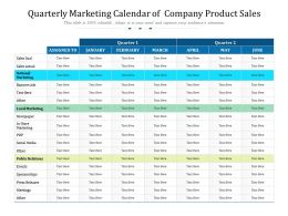 Quarterly Marketing Calendar Of Company Product Sales