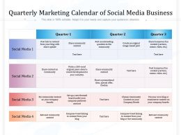 Quarterly Marketing Calendar Of Social Media Business