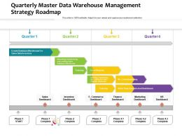 Quarterly Master Data Warehouse Management Strategy Roadmap