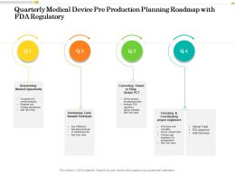 Quarterly Medical Device Pre Production Planning Roadmap With FDA Regulatory
