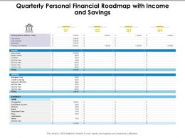 Quarterly Personal Financial Roadmap With Income And Savings